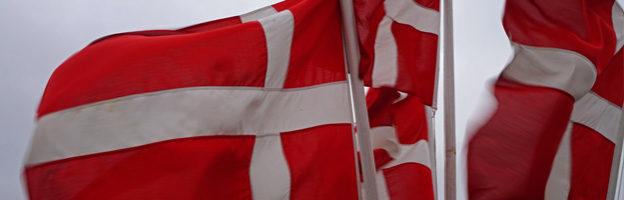 Dänische Flaggen im Hafen von Fanø.